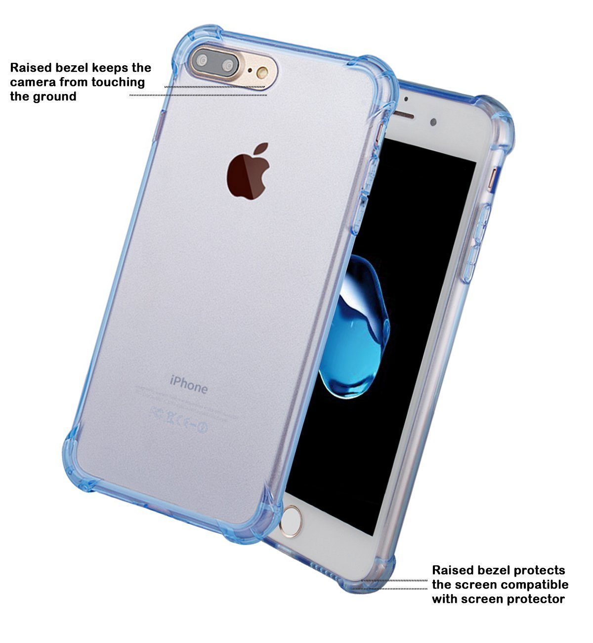 Anti-Scratch Non-Slip Ultra-Slim Flexible Bumper Soft TPU Transparent Clear Cover for iPhone 7