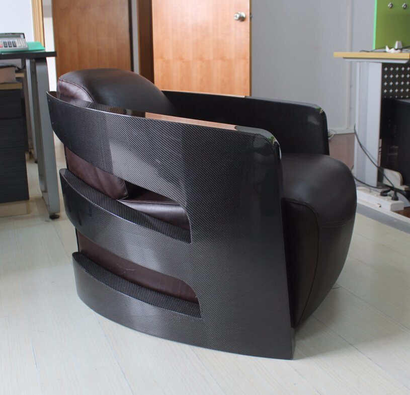 Living Room Office Bedroom Carbon Fiber Arms Leather Chair