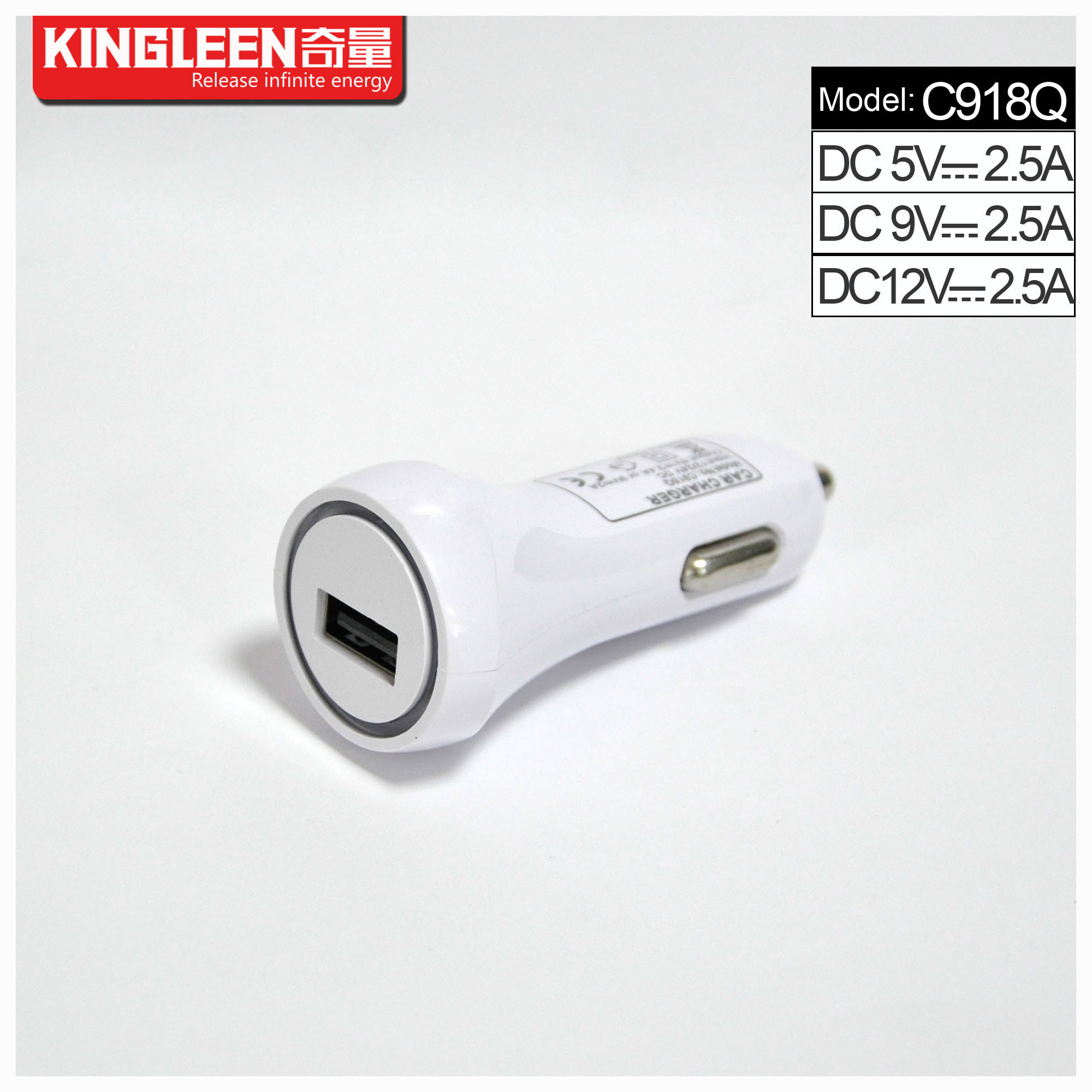 Kingleen Model C918q Quick Charger 3.0 Single USB Battery Car Charger Factory Outlet