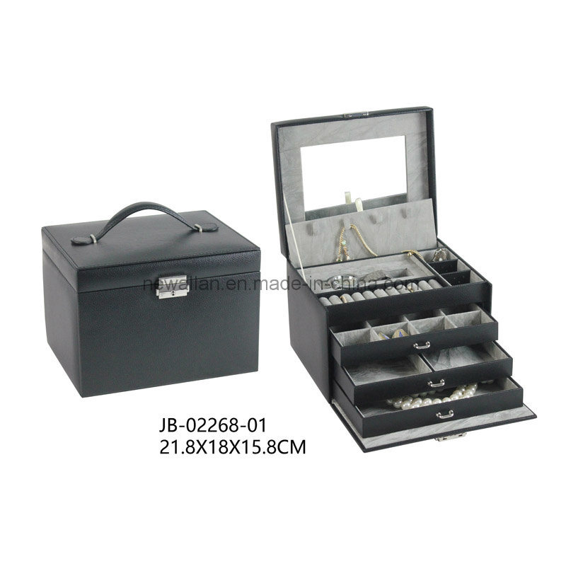 New Design Classic Black PU Leather Jewelry Storage Box Jewelry Box
