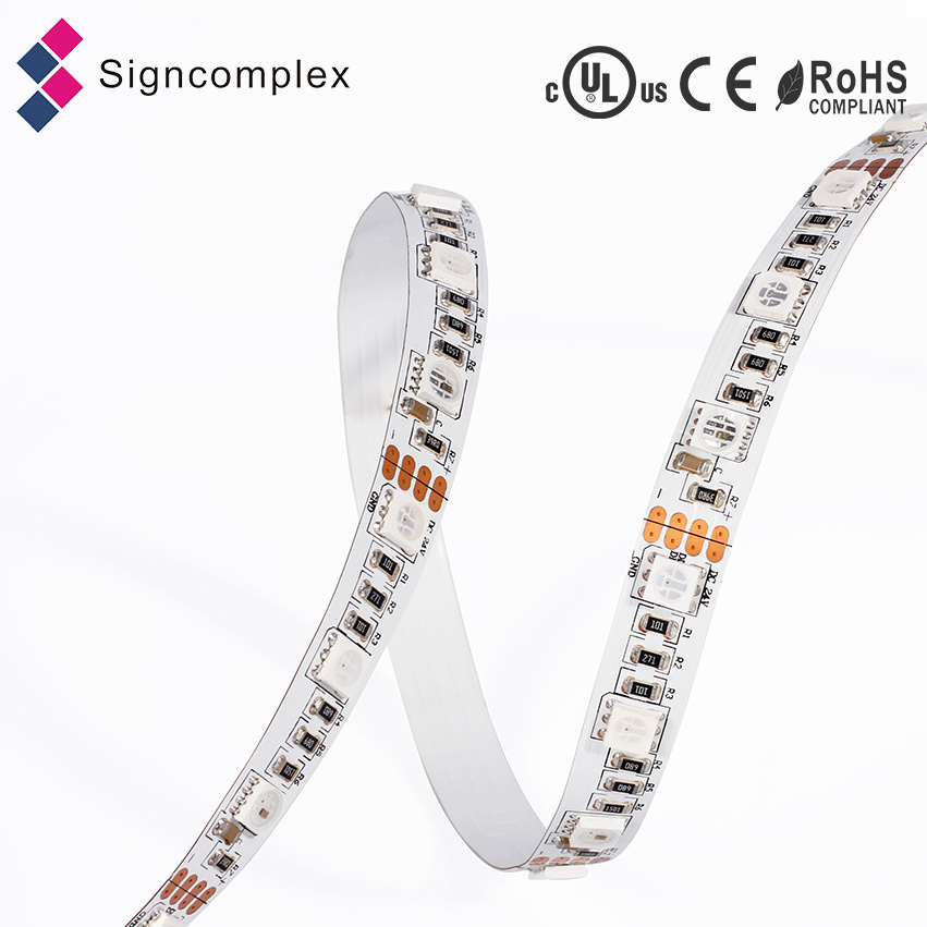 Built-in IC Digital 5050 DC 5V LED Strip, High Brightness LED Strip RGB Signcomplex