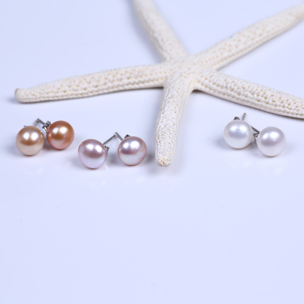 Good Quality Button Freshwater Pearl Stud Earring