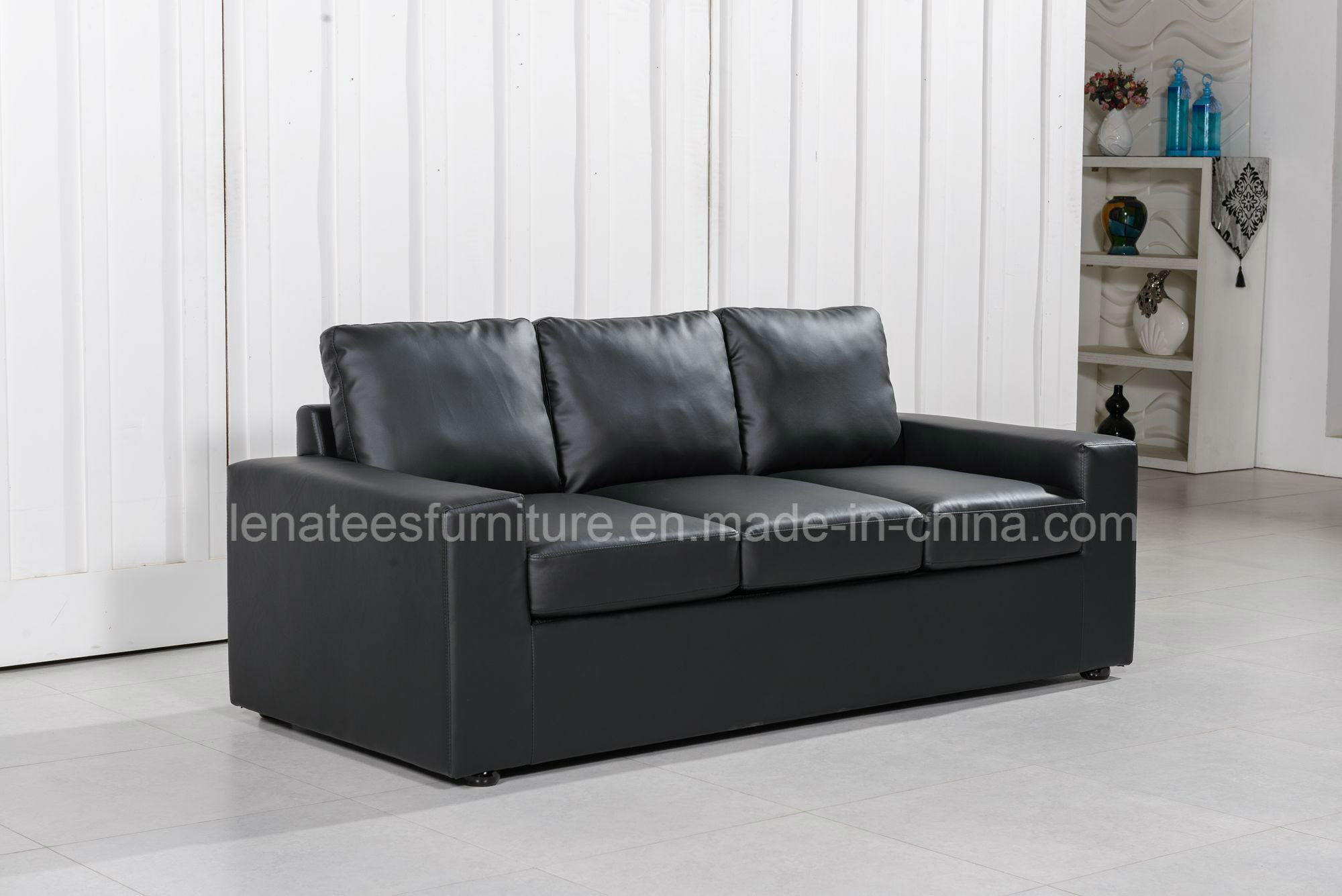 Lk-9103 Hotel Room Living Room Leather Sofa Bed with Mattress