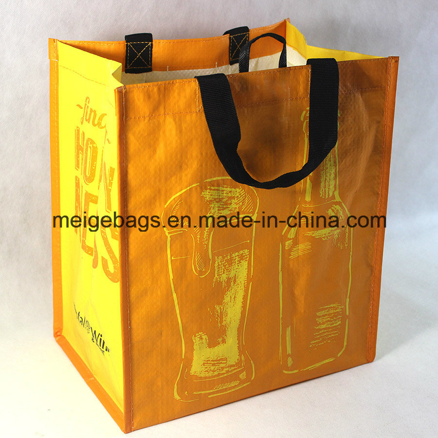 PP Woven Wine Bottle Tote Bag, with 6 Compartments Inside