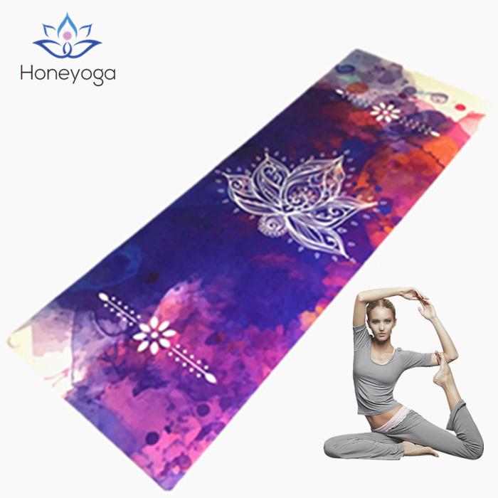 Lotus Design Custom Print Natural Rubber Microfiber Sude Antislip Yoga Mat