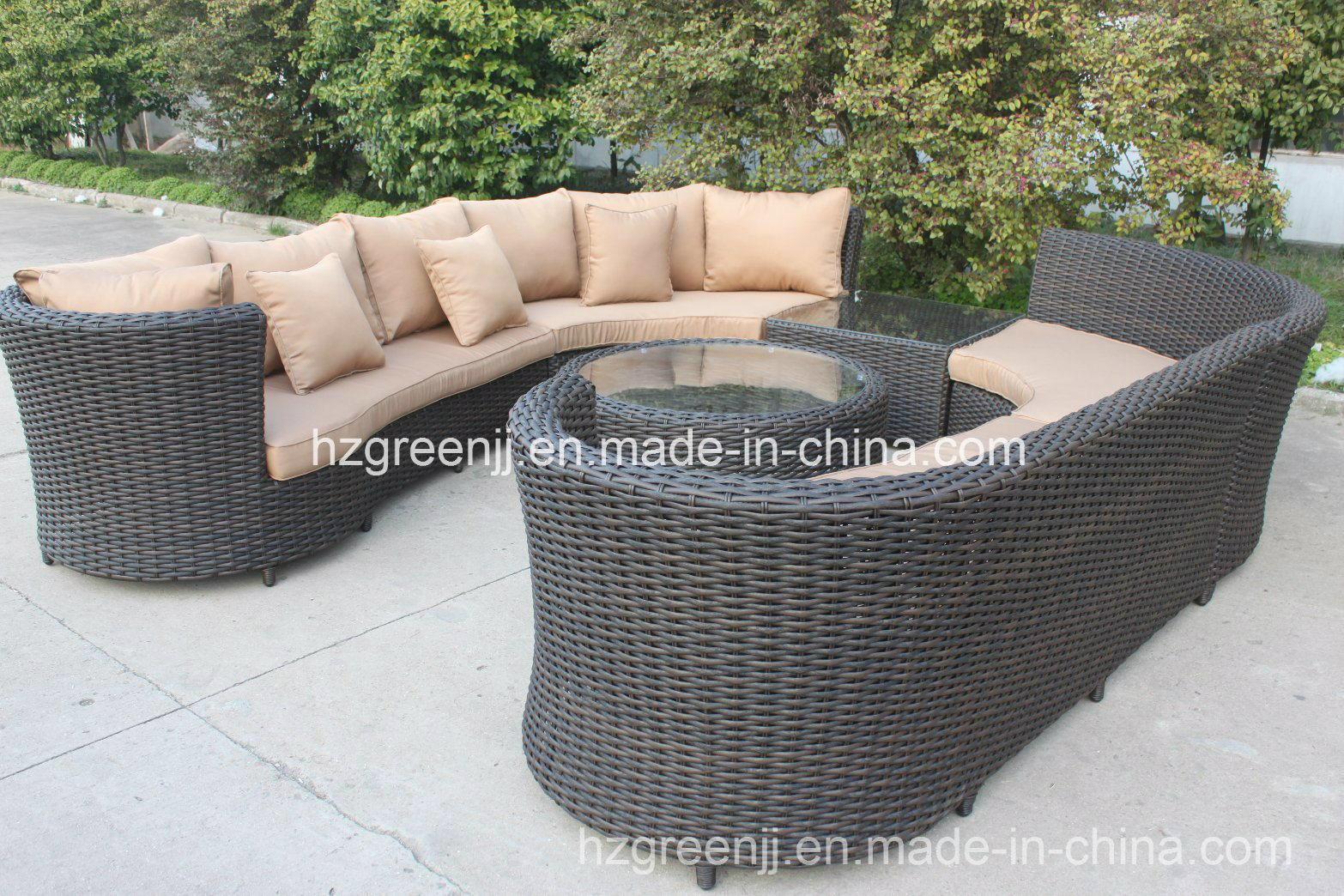 6 Pieces Curved Sectional Sofa Set Weave Rattan Furniture