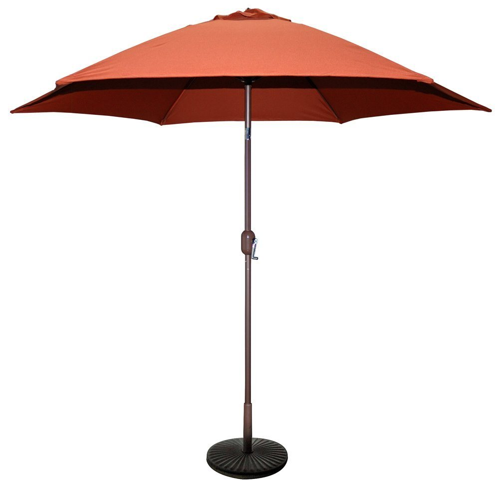 9 FT Bronze Aluminum Market Umbrella with Rust Color Polyester Cover