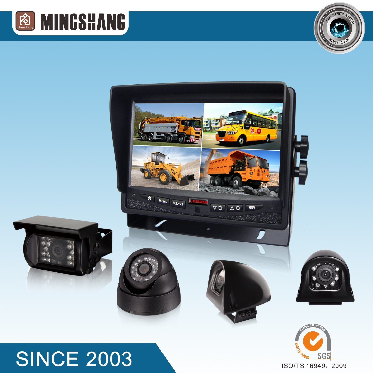 "7"" Security System with CCD Rear View Camera for Bus & Truck Use, E-mark & CE Certified"