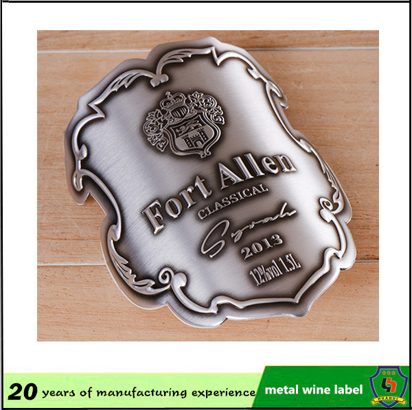 Custom Aluminum Embossed Bottle Label Wine Bottle Metal Label