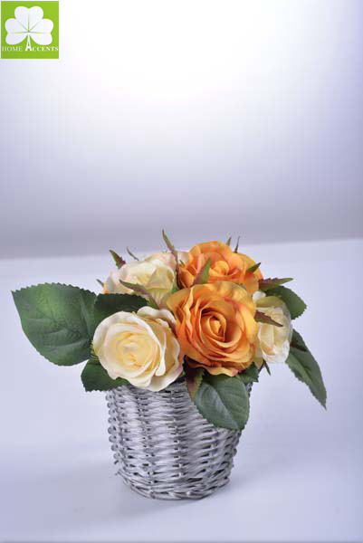 Rose in Rattan Basket for Promotion