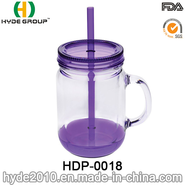 Customized 20oz BPA Free Plastic Mason Jar with Handle (HDP-0018)