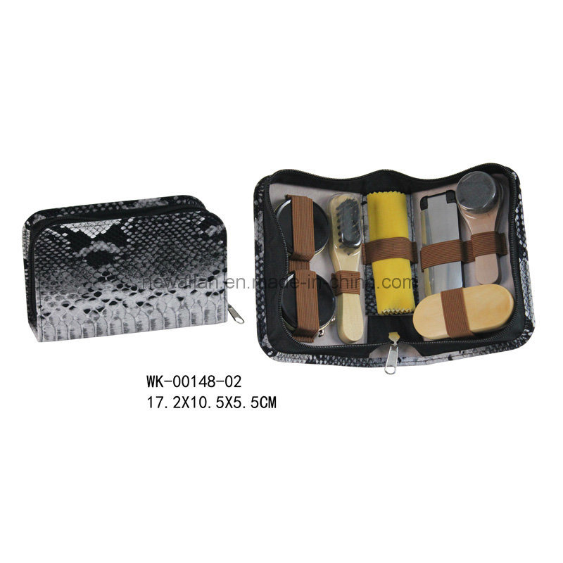 Fashion Snake Leather Zipper Travel Shoe Shine Kit Shoe Polish Set