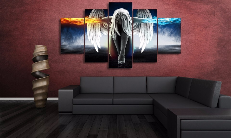 HD Printed Angeles Girls Anime Demons Painting Canvas Print Room Decor Print Poster Picture Canvas Wall Art Mc-001