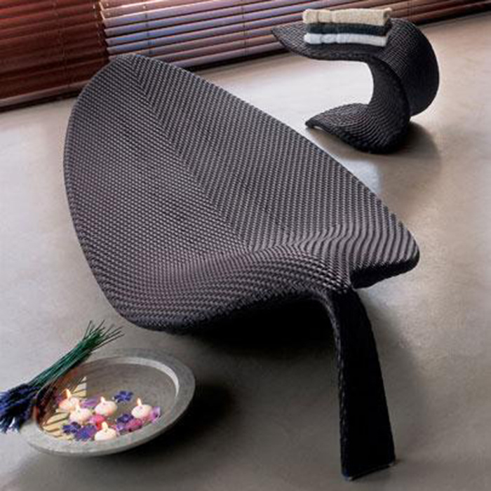 Rattan/Wicker Leaf Shape Streamlining Outdoor Garden Patio Furniture Beach Swimming Pool Lounge Lying Bed Sunbed Daybed