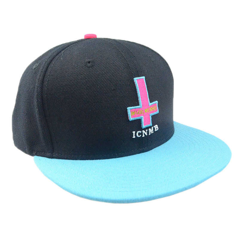 Custom Black Blue Flat Brim 6 Panel Cotton Snapback Cap