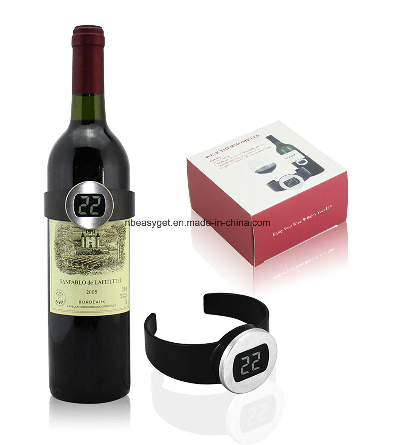 Champagne and Wine Bottle Snap Thermometer Digital Instan Read Thermometers with LED Display for Wine Enthusiast Red Wine Bracelet Thermometer