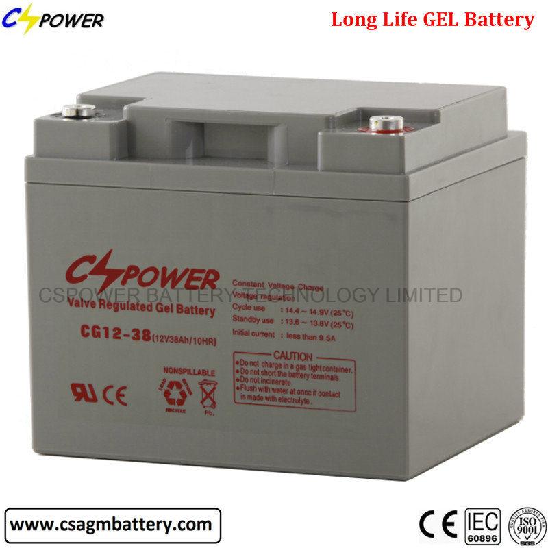 12 Volt 38ah Cspower Battery, VRLA UPS Solar Battery Cg12-38