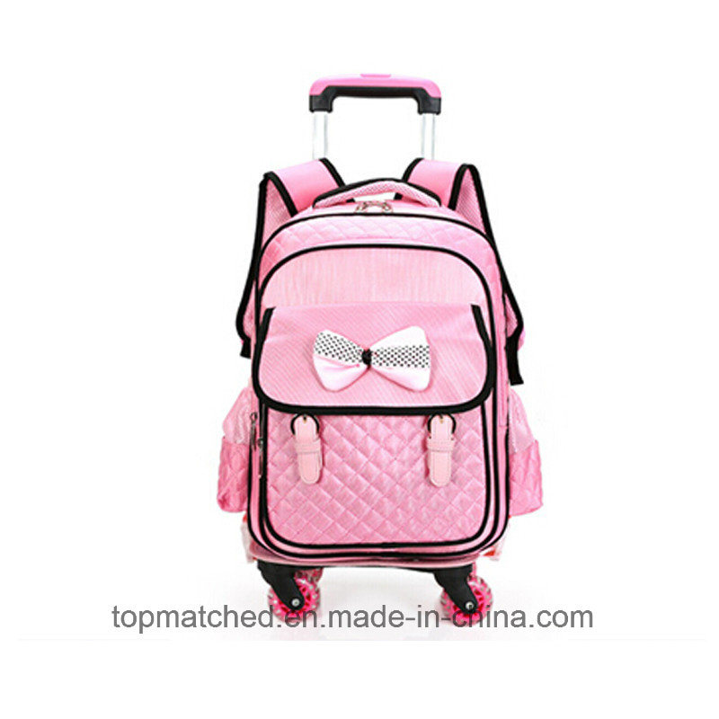 New Bowknot Design School Backpack Mutiple Pockets Wheeled Trolley School Bag