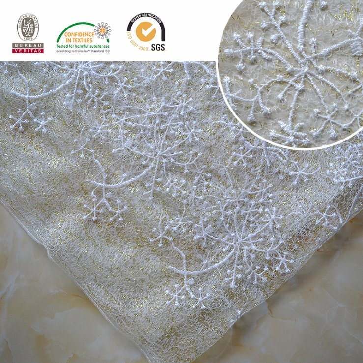 Snow Design Mesh Lace Embroidery Fabric Lace