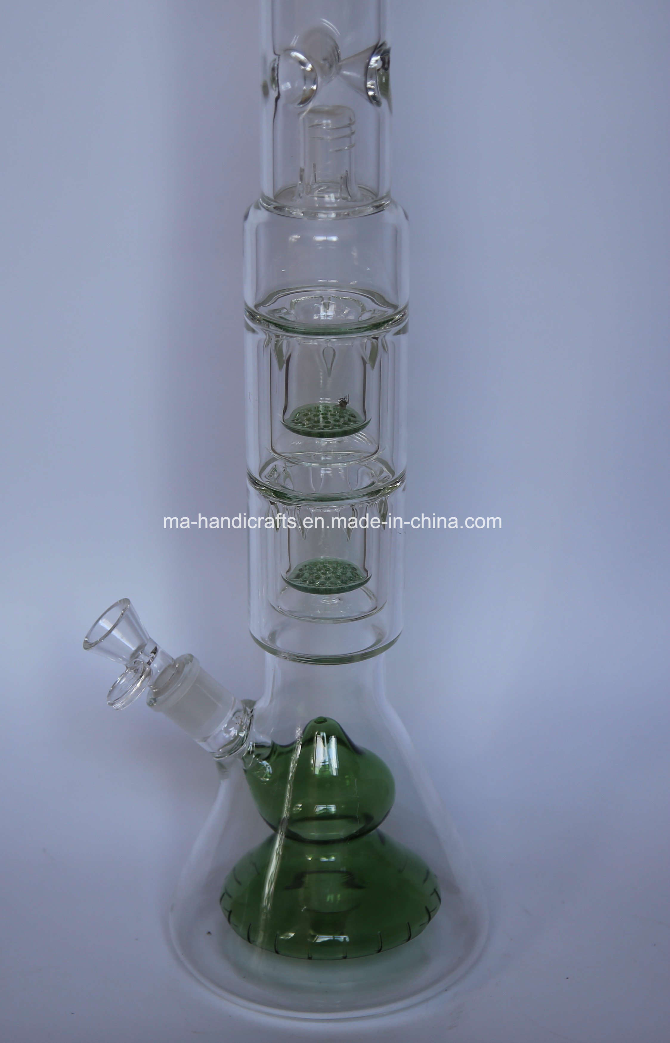 """21"""" Bottom Beaker Glass Water Pipes with Double Netted Disc Perc"""