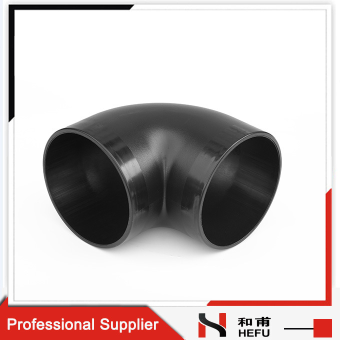 Black Plastic HDPE Material Drainage Pipe 90 Degree Elbow