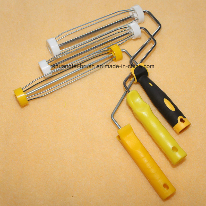 """9"""" *4 Wire Roller Handle with Pile 18mm Green Stripe Yellow Base Acrylic Paint"""