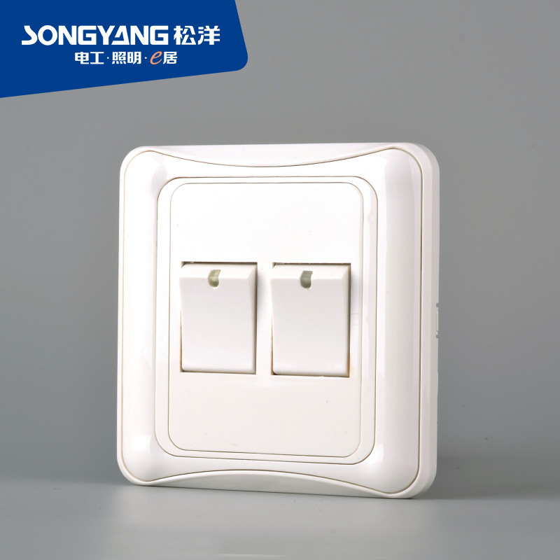 A4 White 2gang New Wall Light Switch