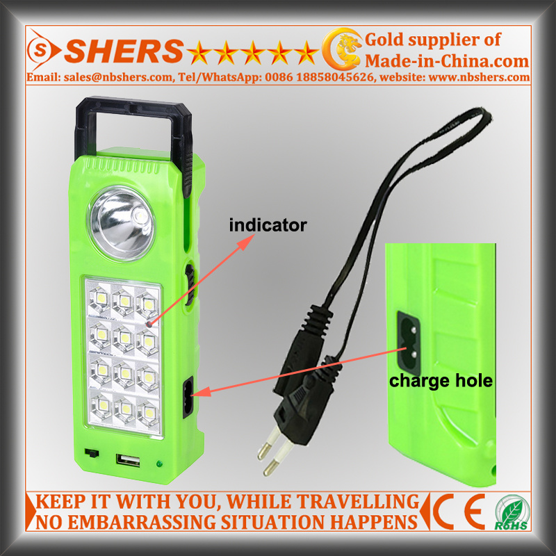 Rechargeable Solar LED Emergency Light with 1W Flashlight, USB (SH-1905)