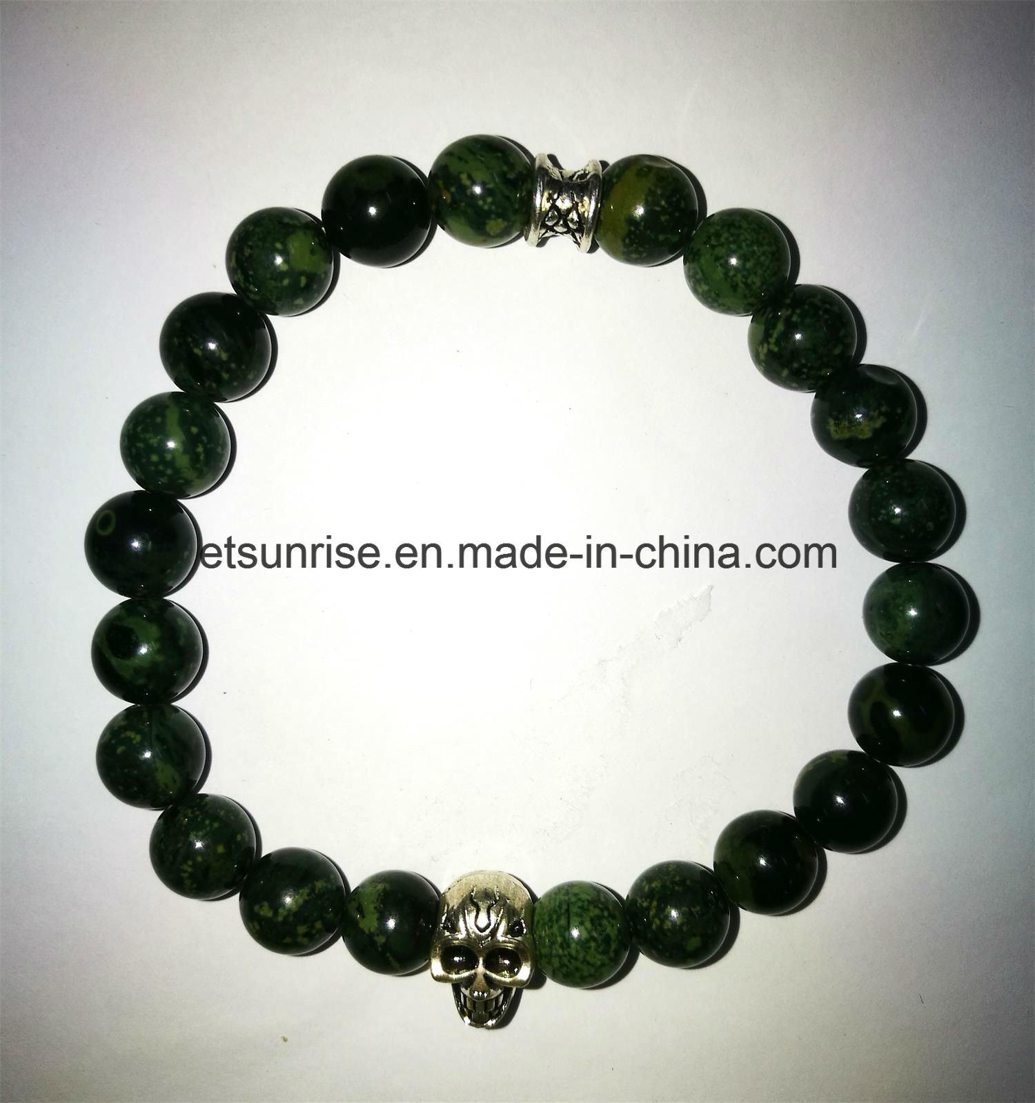 Semi Precious Stone Buddha Skull Bracelet