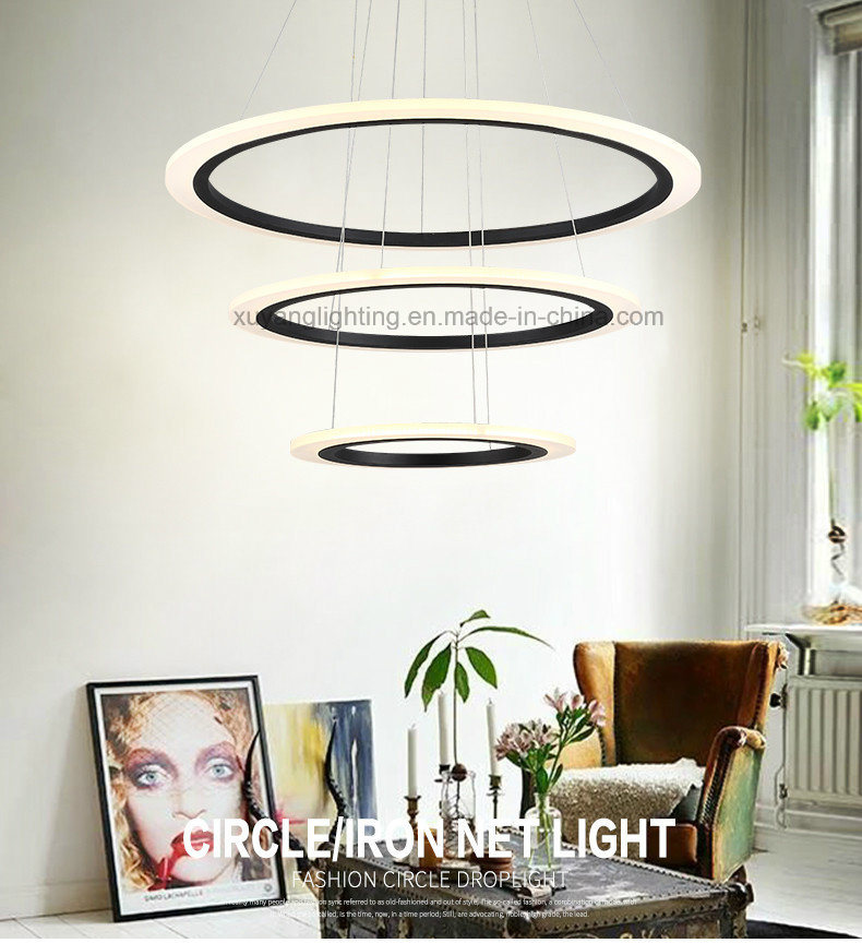Triple Circle LED Pendant Light for House, Modern Pendant Light with Edison Chips
