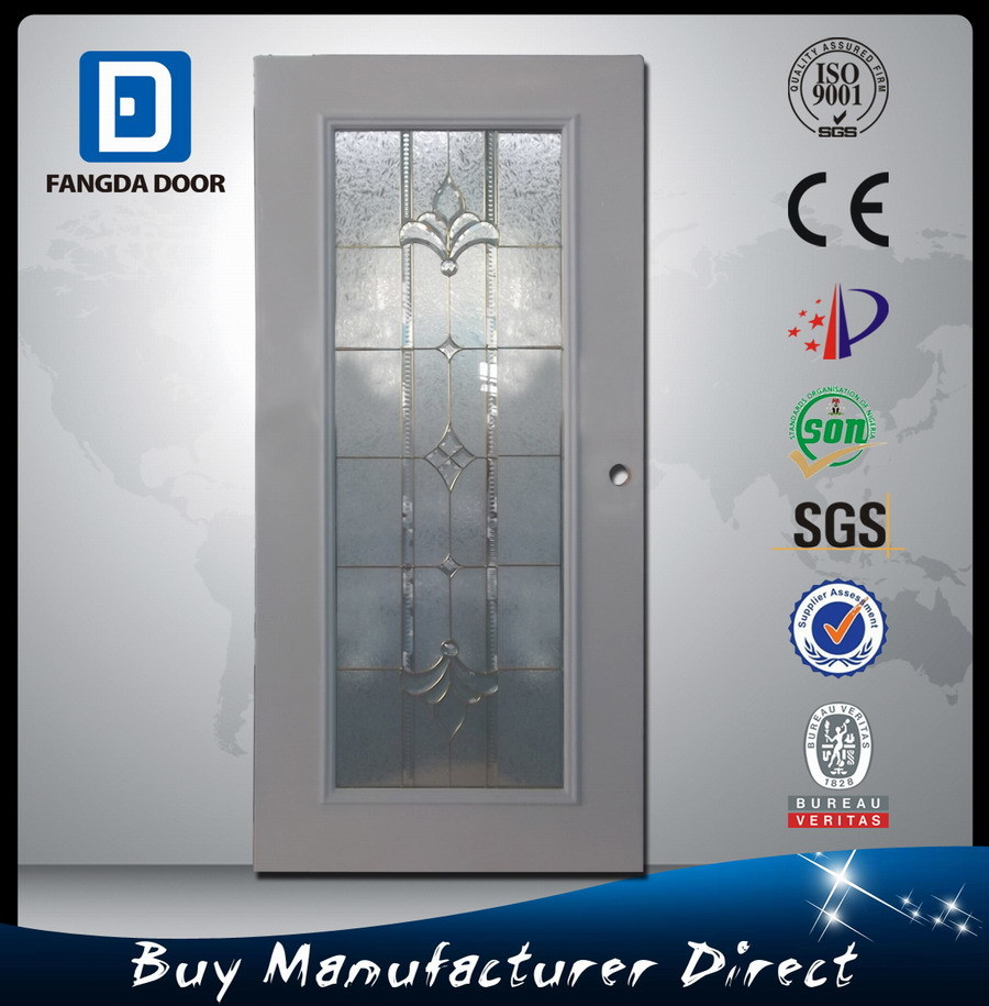 Full Lite Glass PVC Balcony Exterior Prehung Steel Front Door