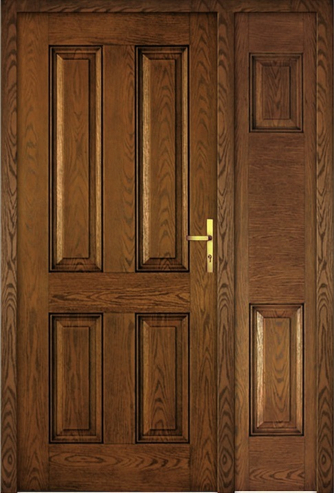4 Panel Oak Fiberglass Door with Glass