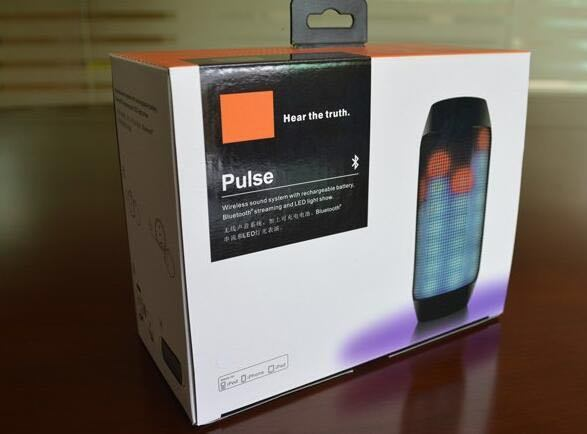 Factory Wholesale Waterproof Jbl Pulse Splashproof Portable Bluetooth Speaker with Colrs LED Light