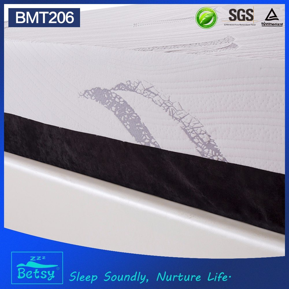OEM Compressed Gel Memory Foam Mattress 32cm High with Knitted Fabric Zipper Cover and Massage Wave Foam