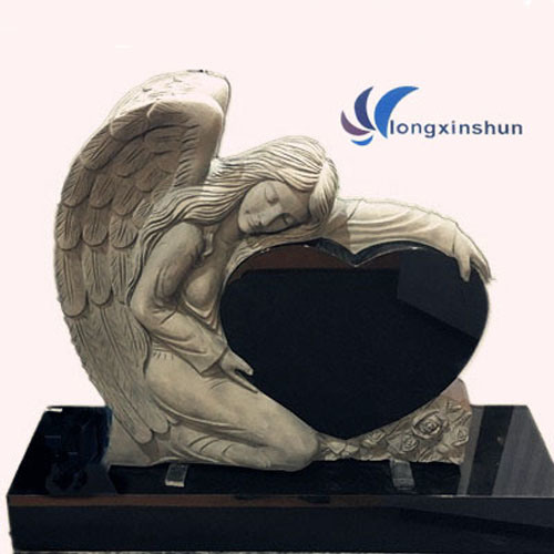 Angel Black Granite Carving European Gravestone
