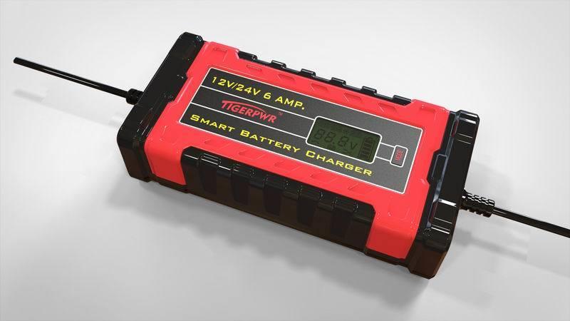 6A 12V/24V Smart Battery Charger with LCD Dipslay