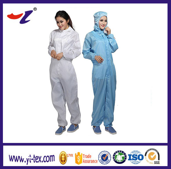 ESD Garments with Conductive Silk for Cleanroom