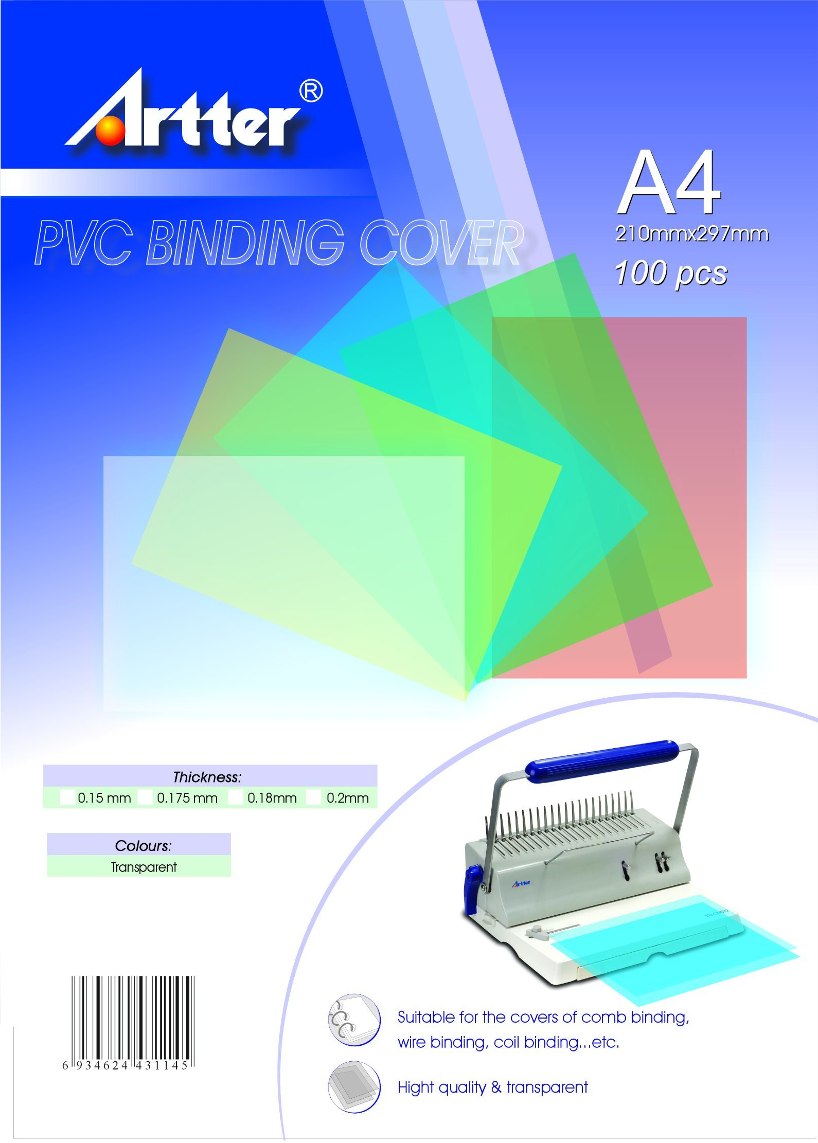 High Clear PVC Book Binding Cover