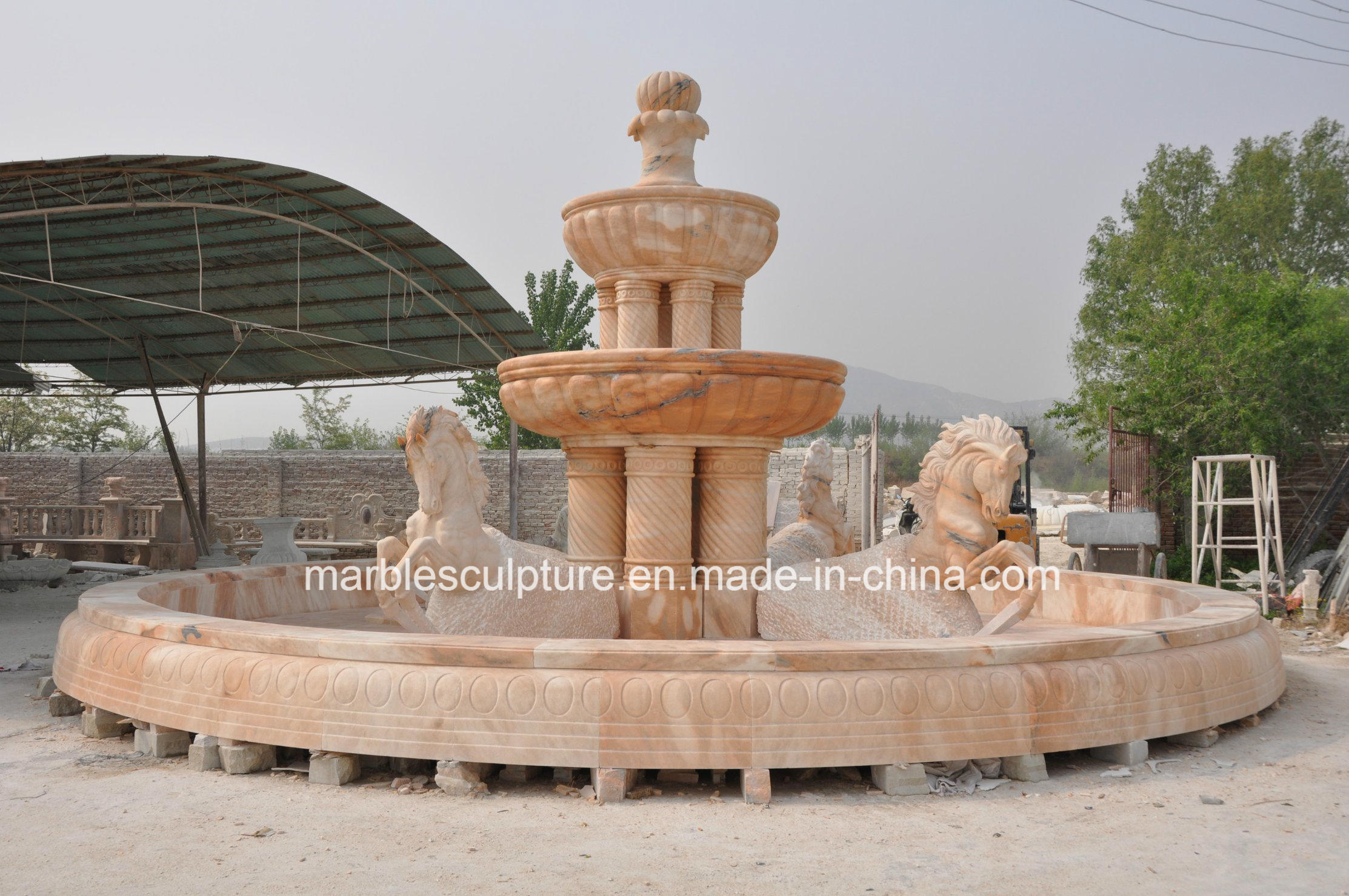 Sunset Red Stone Sculpture Water Fountain for Square Place (SY-F020)