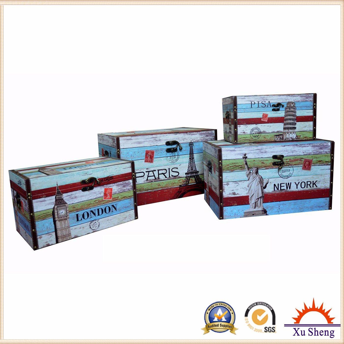 Wooden Storage PU Print Trunk Chest