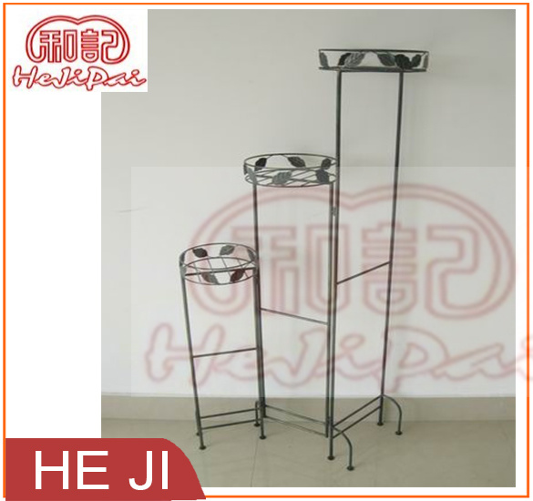 Folding Steel Planter Stand with Leaf Decorated