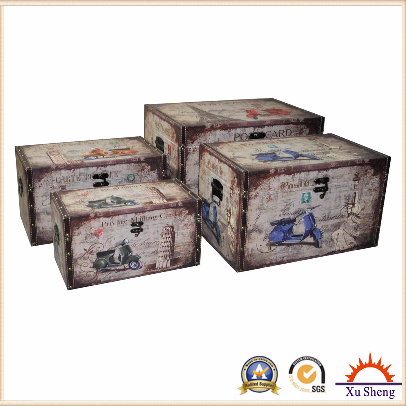 Wooden Storage PU Print Trunk Chest