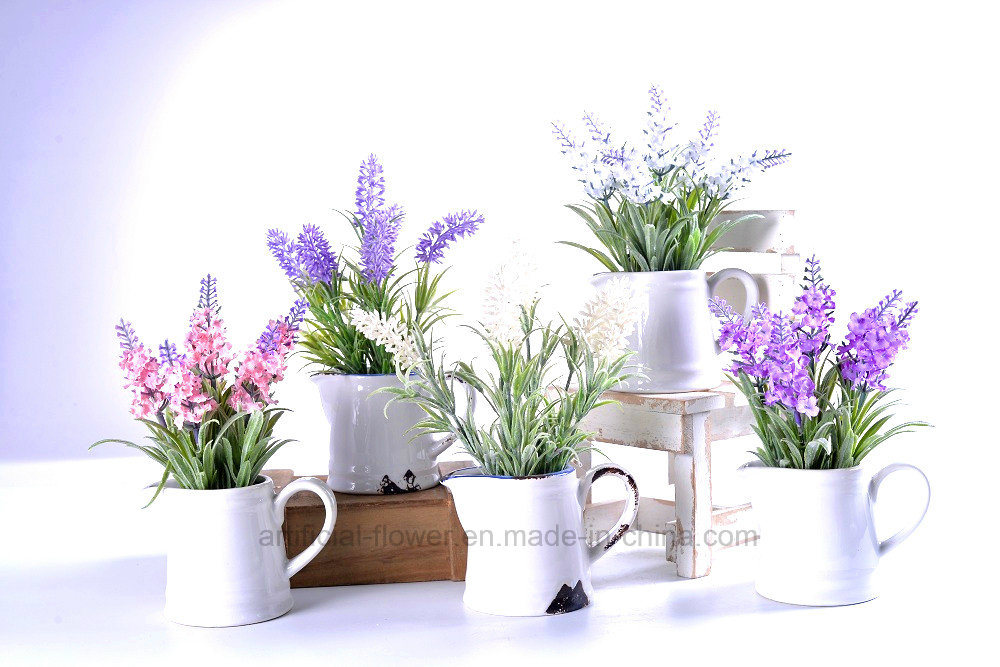 Kinds of Artificial Floking Flower Lavender in Ceramic Pot for Decoration