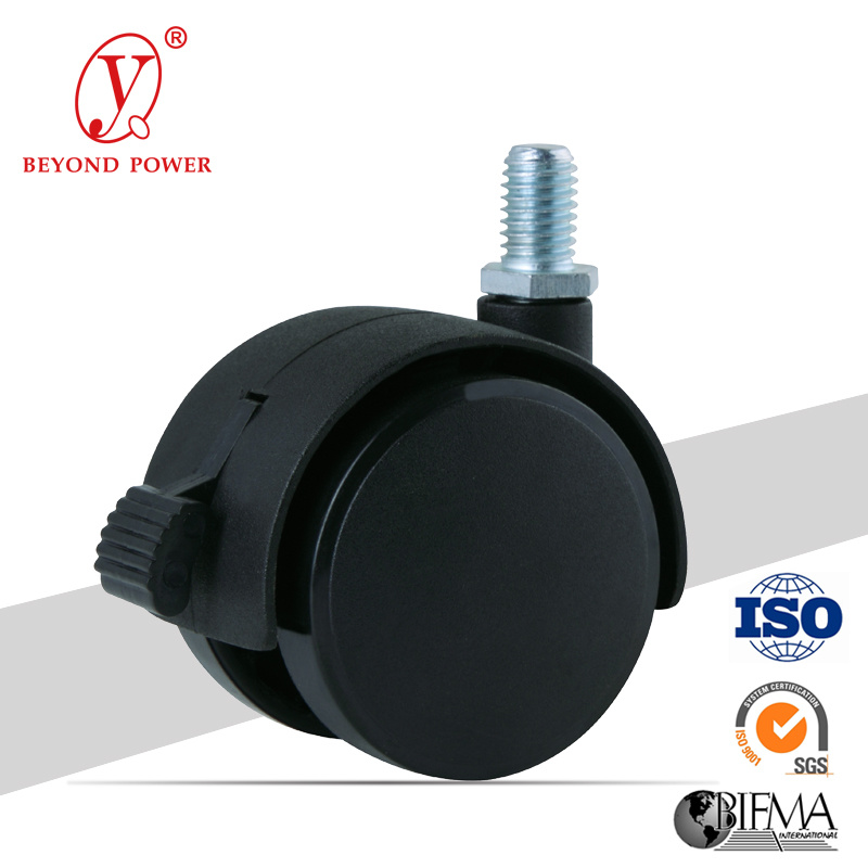 50mm Black Color Office Chair PA/Nylon Ball Casters Caster with Brake, Cabinet Screw Caster, Castor