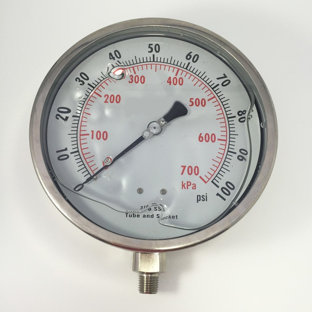 "048 6"" All Stainless  Steel Liquid Filled Pressure Gauge"