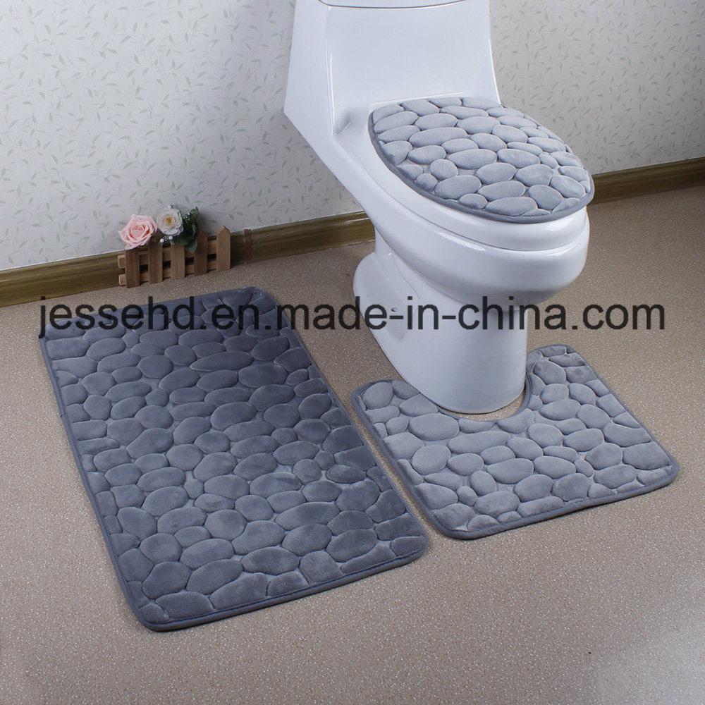 2017 Hot Selling Flannel Embossed Foam Sponge 3PCS Bathroom Mats Set