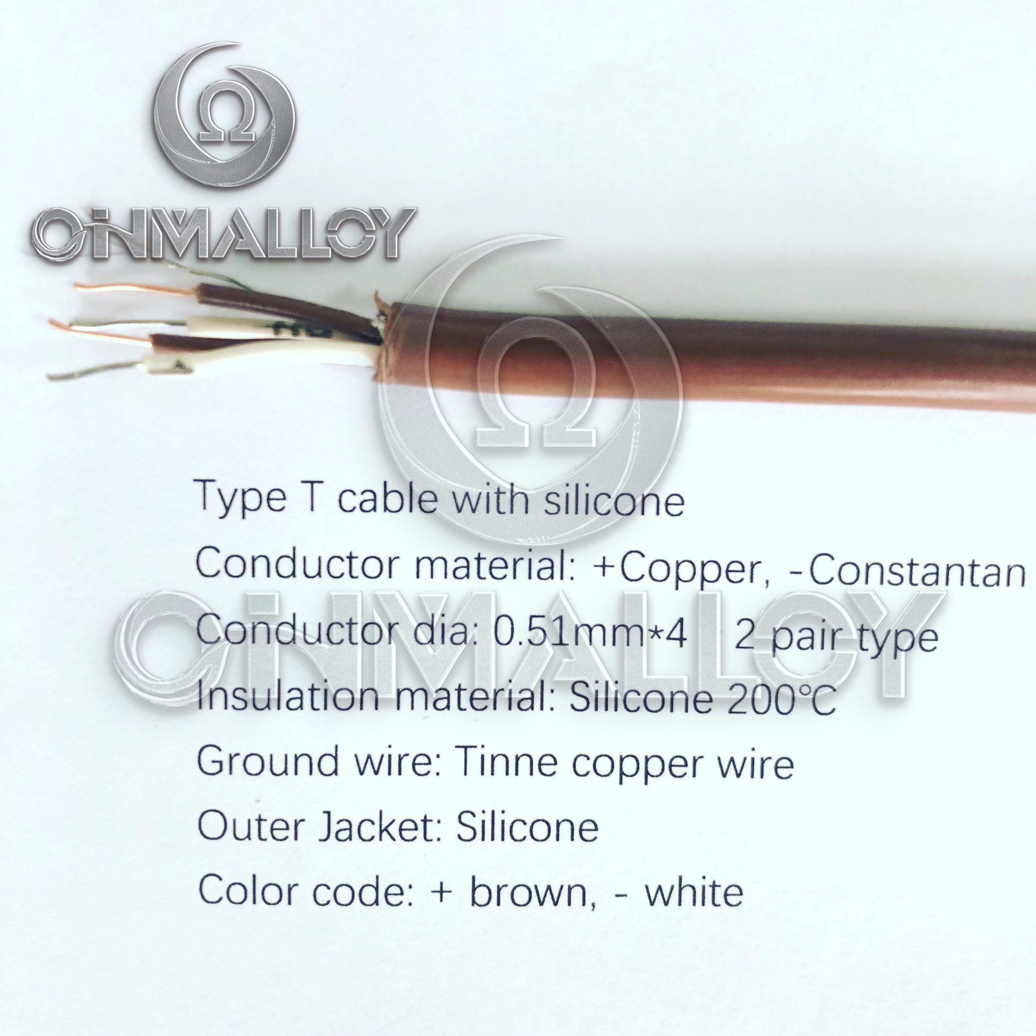 Type T Thermocouple Cable Silicone 200 Degree Insulated Wire 0.51mmx4