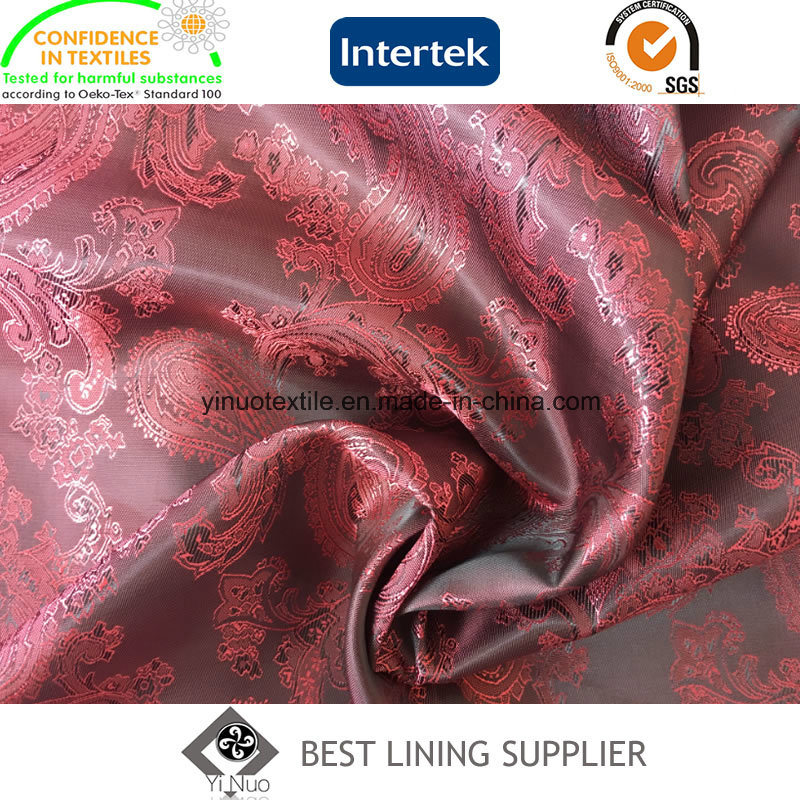 55% Polyester 45% Viscose Softer Paisley Jacquard Lining Fabric in Stock