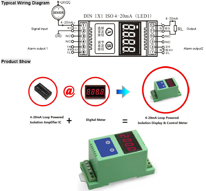 2-Wire 4-20mA Current Loop Digit Display Meter with 3kv Isolation
