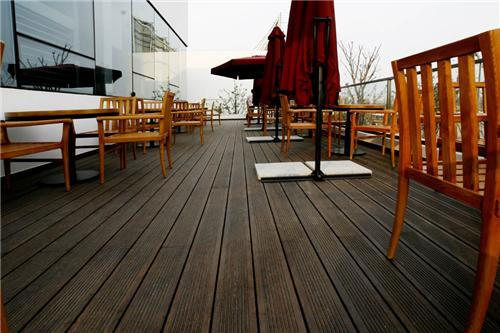 Strand Woven Bamboo Decking Outside